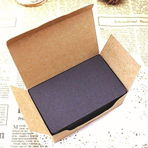 (Fecedy 100pcs Blank Kraft paper Business Cards Word Card Message Card DIY Gift Card (black))