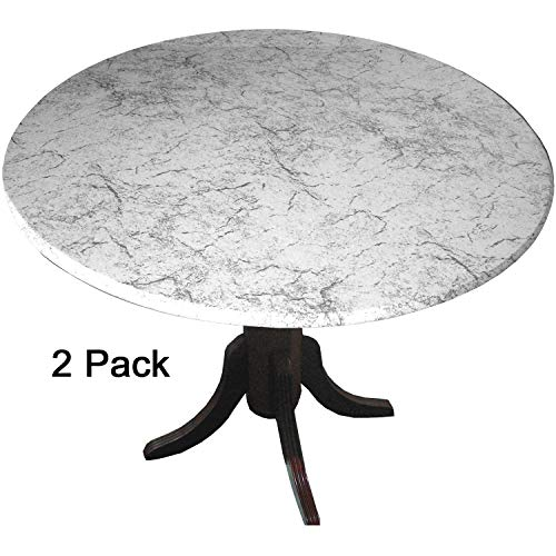 2 Pack MarbleTop Fitted Vinyl tablecloths (tablecovers, Table Covers) - Florentine Marble White ()