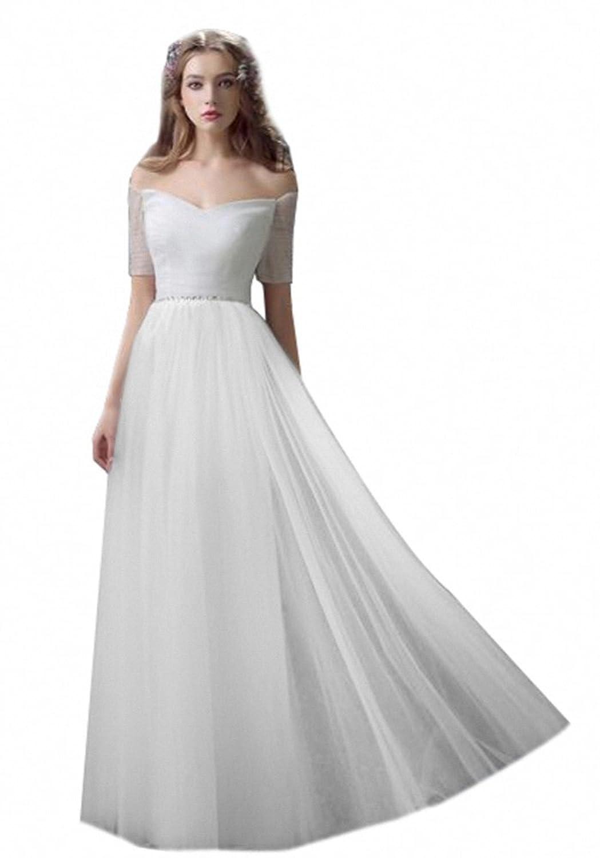 KekeHouse? Wedding Dress Bridesmad A-line Dress Boat Neck Crystal Evening Dress Flower Girl's Child Communion Dress White Ivory