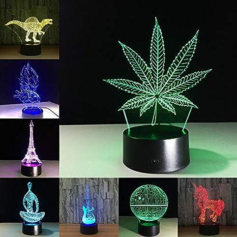 Ilusión LED Lámpara 3D Hoja de Arce Lindo Unicornio Amigos ...