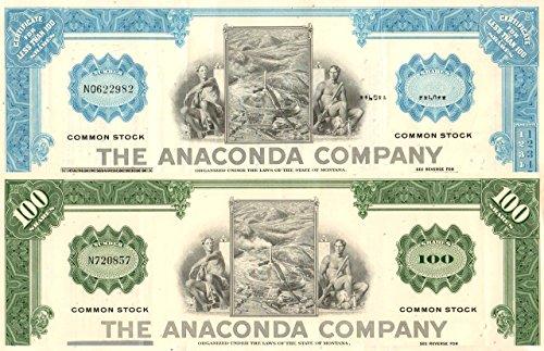 - 1965 PAIR OF 2 SUPERB ORIGINAL ANACONDA (MONTANA) MINING STOCKS! SALE $7.49 EACH! Choice About Uncirculated