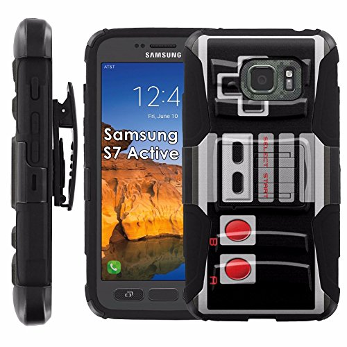 Samsung Galaxy [S7 Active] Armor Case [Mobiflare] [Black/Black] Armor Phone Case [Screen Protector INCLUDED] – [NES Video Game Controller] For Sale