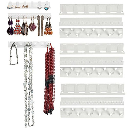 Febelle Necklace Earring Organizer Wall Hanging Display Stand Rack Holder White