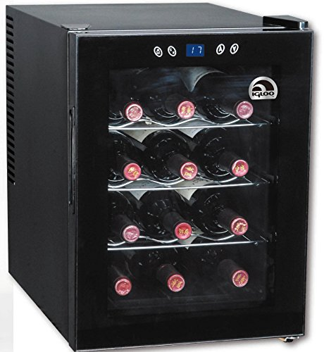 Corkscrew Combo (Igloo FRW133 12-Bottle Wine Cooler with Digital Temperature Display, Black)