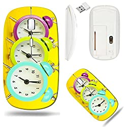 Liili Wireless Mouse White Base Travel 2.4G Wireless Mice with USB Receiver, Click with 1000 DPI for notebook, pc, laptop, computer, mac book ID: 21034929 Colorful clock on yellow background