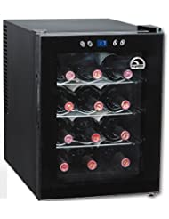 Igloo FRW133 12-Bottle Wine Cooler with Digital Temperature Display, Black
