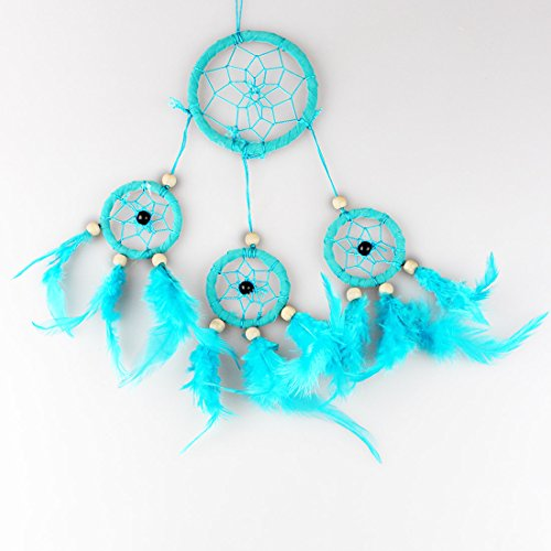 Blue Dream Catcher Hanging Décor with Feather Beads, Handmade Decoration for Wall Hanging, Car Decor, Indian Style Ornament, 13.4inch Long