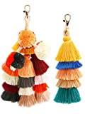 Jetec 2 Pieces Colorful Tassel Charm Keychain Handbags Bag Pendant Key Ring Pom Tassels Key Chain (Multicolor B)