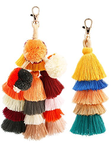 Jetec 2 Pieces Colorful Tassel Charm Keychain Handbags Bag Pendant Key Ring Pom Tassels Key Chain (Multicolor B) by Jetec