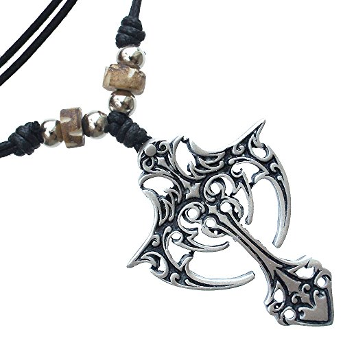 Gothic Vampire Cross silver pewter pendant Handmade adjustable necklace beads decorated