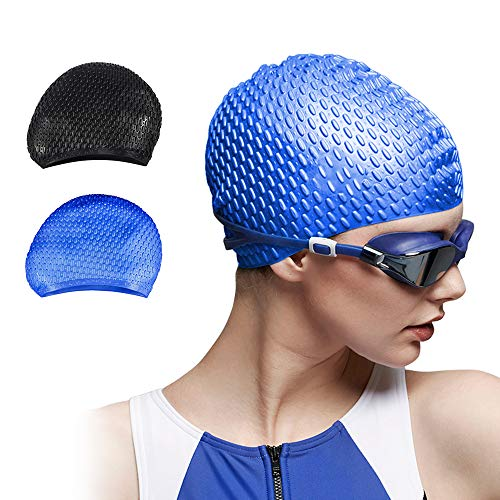 Trevoz Swim Cap, Women Silicone Swimming Cap for Long/Curly/Braids Hair Unisex Adult Kids Bathing Cap, Keep Hair Dry with Nose Clip and Ear Plugs (Blue)