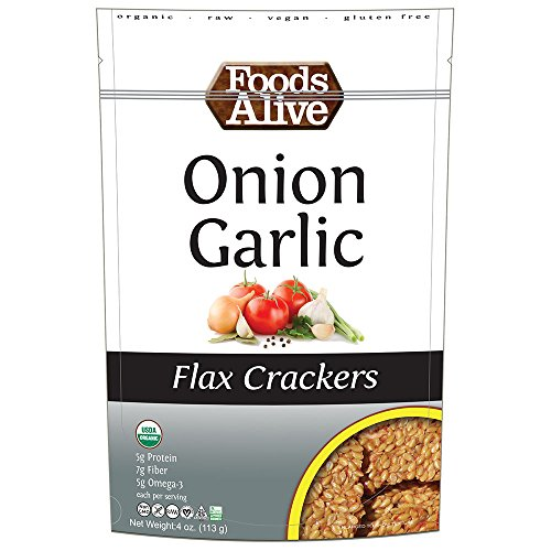 Foods Alive Onion Garcic Golden Flax Crackers, 4 (Flax Crackers)