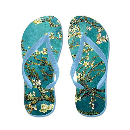 Cafepress Van Gogh Fleurs Damandier Arbre - Tongs, Sandales String Drôle, Sandales De Plage Bleu Caraïbes