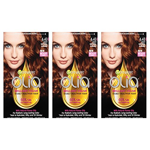 Garnier Hair Color Olia Oil Powered Permanent Hair Color, 6.43 Light Natura, 3 count (Packaging May - Color Garnier Auburn Hair