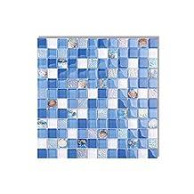 300cmX210cm Crystal Glass Shell Resin Mosaic Tile Blue White mother of pearl wall tile kitchen backsplash bathroom background 3D wallpaper,D