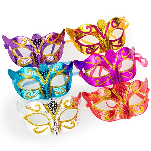 Solovey 12Pack Gold Shining Plated Party Mask Wedding Props Masquerade Mardi Gras Mask Party Costume Accessory, Large]()