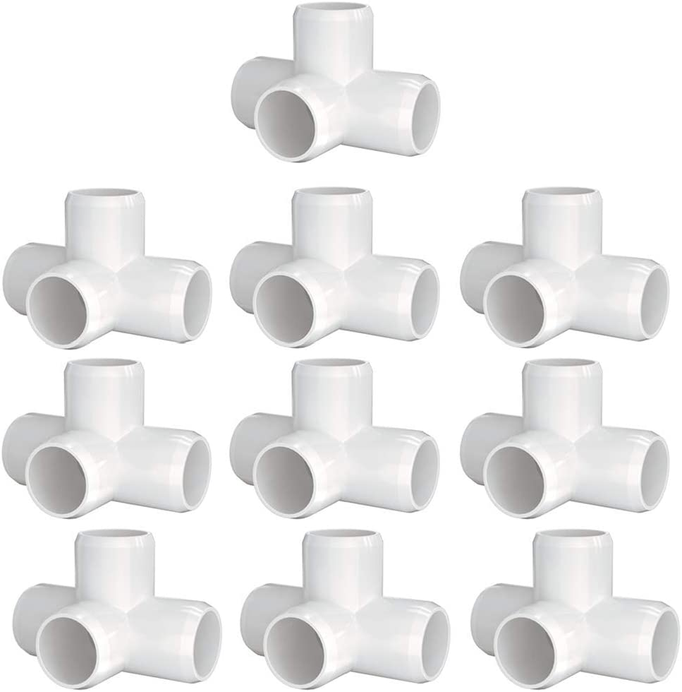 letsFix 4-Way 3/4 inch PVC Fitting, PVC Elbow Fittings PVC Pipe Connectors - Build Heavy Duty Furniture Grade for 3/4 inch PVC Pipe, White [Pack of 10]