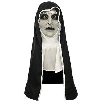 Mesky The Nun Máscara para Halloween Mask Valak Monja el Diablo Disfraz de Terror Casco Accesorio de Látex Blanco y Negro Ligero: Amazon.es: Juguetes y ...