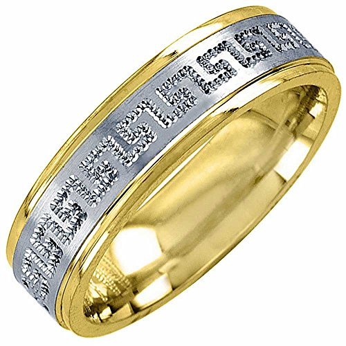 Two Tone Platinun and 18K Yellow Gold Designer Greek Key Women's Wedding Band (6mm) Size-8c2 18k Yellow Gold Designer Band