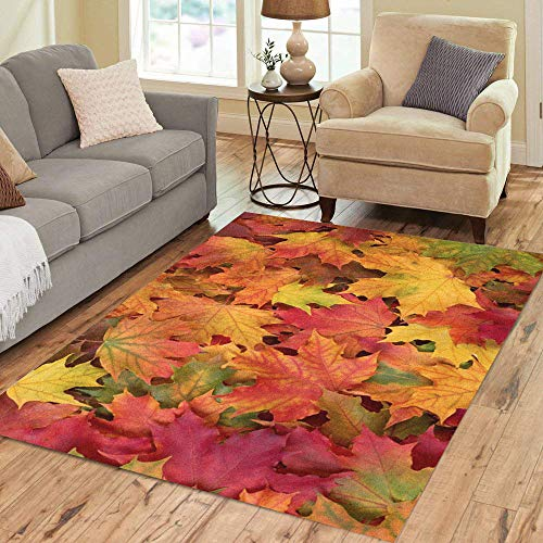 Pinbeam Area Rug Red Leaf Fall Leaves Brown Autumn Maple Pattern Home Decor Floor Rug 5' x 7' Carpet