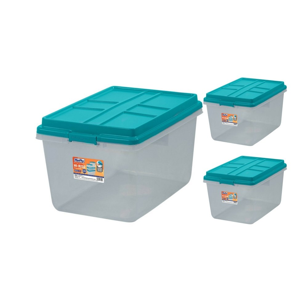 Single Unit 72-Quart Hefty Hi-Rise Clear Latch Box In Teal Sachet Lid and Handles (3 Pack)