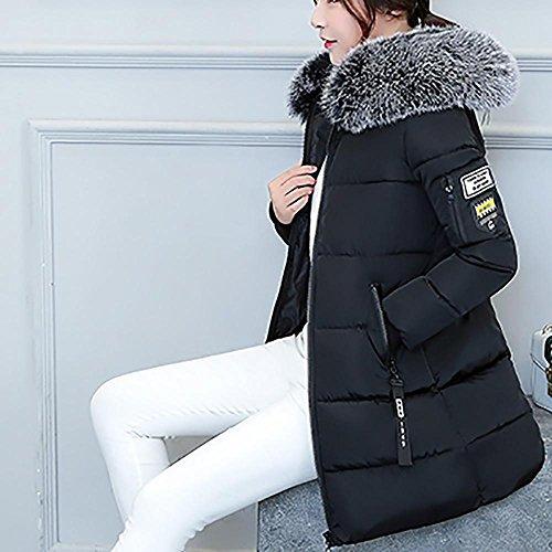 Parka Delle Cappotto Caldo Incappucciato Invernale Spessa Coreano Outwear Lungo Nero Giacca Stile Cappotto Sottile Lhwy Pelliccia Donne Faux qIOw4Ax