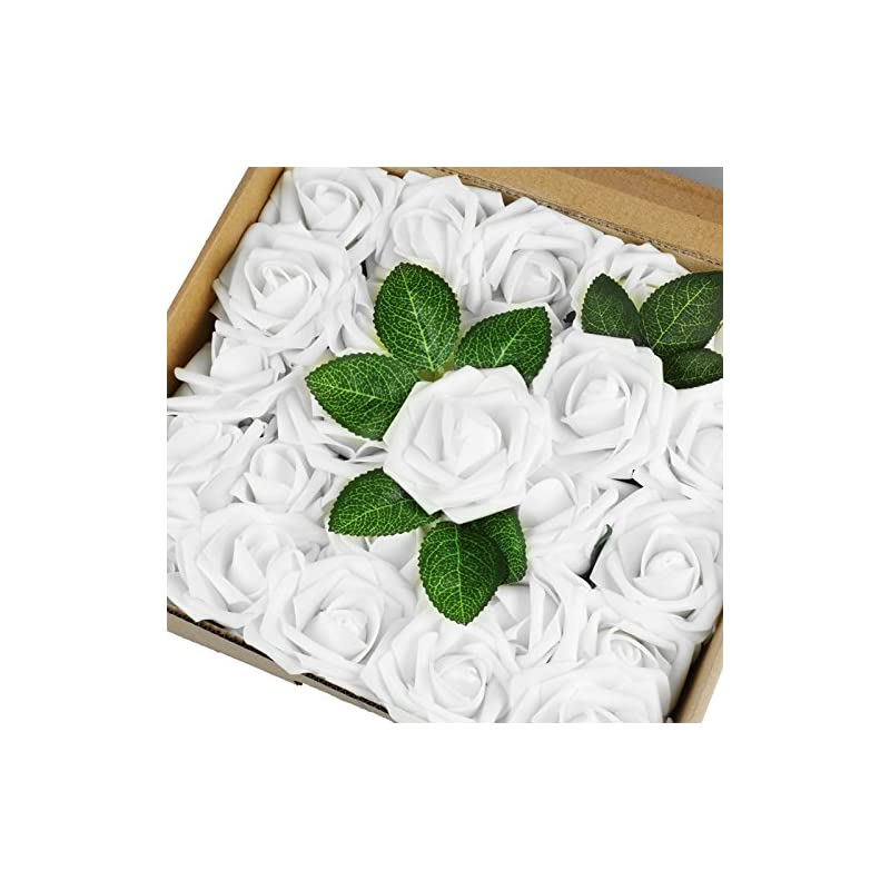 silk flower arrangements vlovelife 50pcs white real looking fake roses artificial flowers roses head with stem for diy wedding bouquets centerpieces arrangements birthday baby shower home party decoration