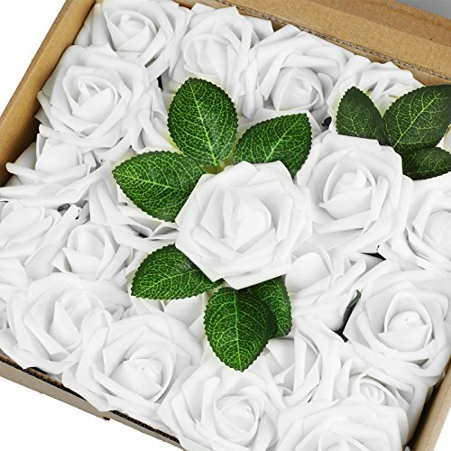 Vlovelife 25pcs White Roses Artificial Flowers Real Looking Fake Roses w/Stem for DIY Wedding Bouquets Centerpieces Arrangements Birthday Baby Shower Home Party Decorations