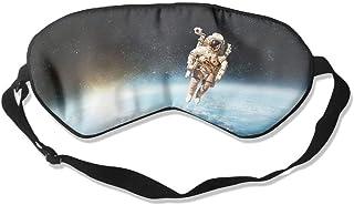 100% Silk Sleep Mask Eye Mask Astronaut Print Soft Eyeshade Blindfold with Adjustable Strap for Sleeping Travel Work Naps Blocks Light E3 Wdskbg