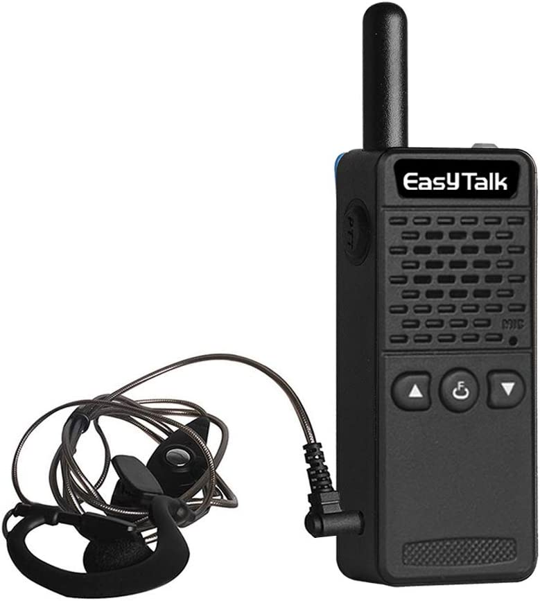 Walkie Talkies for Kids Rechargeable EasyTalk M2 UHF 400-520MHz 16Channels Mini FRS GMRS Radios 2-Way with Earpiece for Adults Boys Grils Black-M2