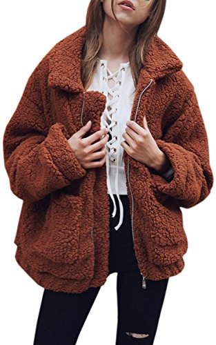ECOWISH Women's Coat Casual Lapel Fleece Fuzzy Faux Shearling Zipper Warm Winter Oversized Outwear Jackets Coffee 3XL