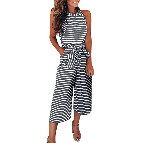 (【MOHOLL】 Women Sleeveless Striped Jumpsuits Waist Belted Wide Leg Pants Romper with Pockets Gray)