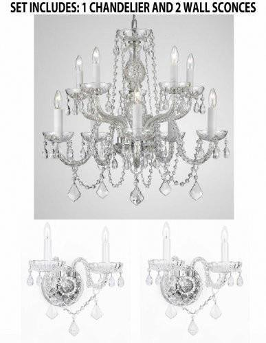 - Set of 3-1 Crystal Lighting Chandeliers H25