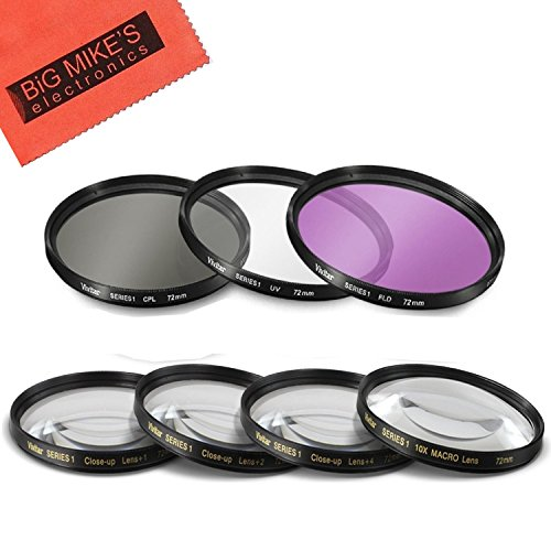72mm 7 Piece Filter Set Includes 3 PC Filter Kit  And 4 PC C