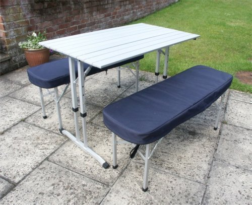 Camping Table / Picnic Table with Two Padded Benches: Amazon.co.uk ...