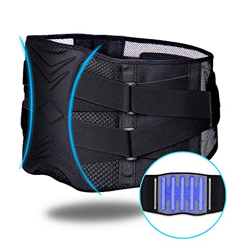 ZHIJING Rückenbandage Rückenstütze Rückengurt mit Stützstreben Bauchbandage verstellbare Zuggurte zur Haltungskorrektur/Arbeitsschutz atmungsaktiv für Damen Herren schwarz blau