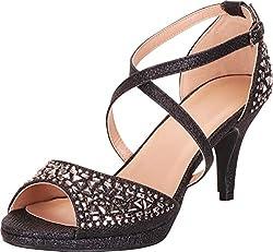 Black Open Toe Strappy Crisscross Rhinestone Mid Heel Sandal