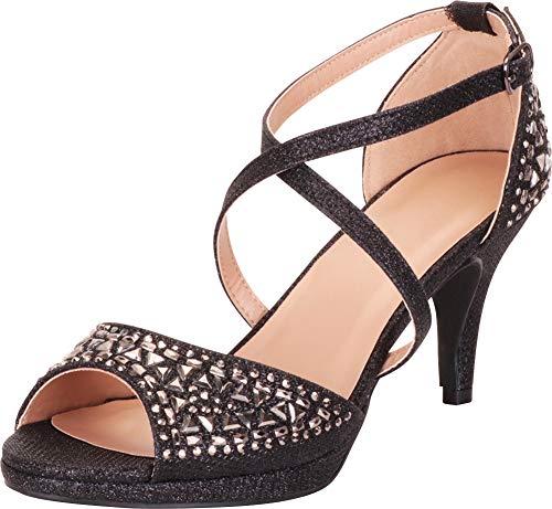 Cambridge Select Women's Open Toe Crisscross Strappy Crystal Rhinestone Mid Heel Sandal,9 B(M) US,Black Glitter