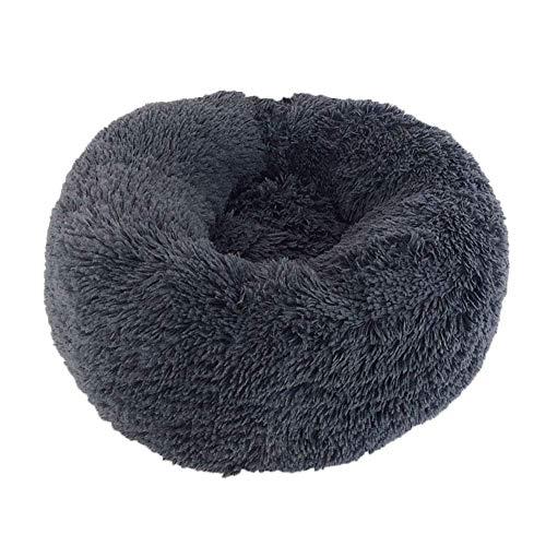 Mkiki Beruhigendes, rundes Haustierbett, warm und weich, bequem zum Schlafen im Winter 50 cm