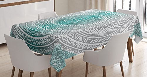 Ambesonne Grey and Teal Tablecloth, Mandala Ombre Design Sacred Space Geometric Center Point Boho Meditation Art, Dining Room Kitchen Rectangular Table Cover, 60 W X 84 L Inches, Grey -
