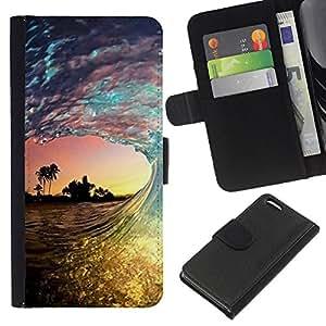 WINCASE Cuadro Funda Voltear Cuero Ranura Tarjetas TPU Carcasas Protectora Cover Case Para Apple Iphone 5C - olas sol palmas mar verano