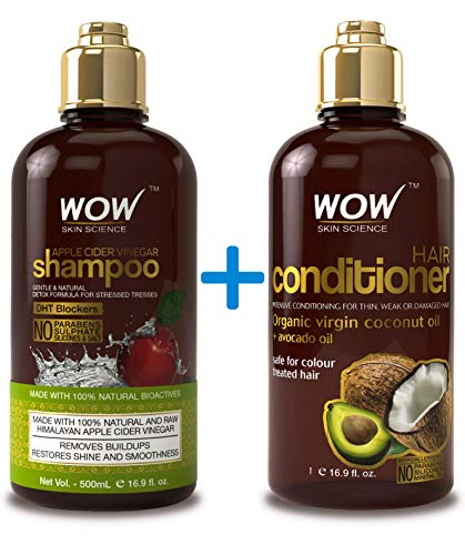 WOW Apple Cider Vinegar Shampoo & Hair Conditioner Set - Increase Gloss, Hydration, Shine - Reduce Dandruff & Frizz - No Parabens or Sulfates - For All Hair Types, Adults (Hair Shampoo Conditioner)