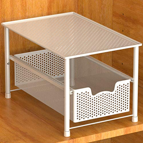 Simple Houseware Stackable Under Sink Cabinet Sliding Basket Organizer Drawer, White (Organizing A Small Closet With Sliding Doors)