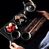 Chinese style household tea tray set tea set 2 people black pottery pot 2 cup ceramic beam pot tea cup set