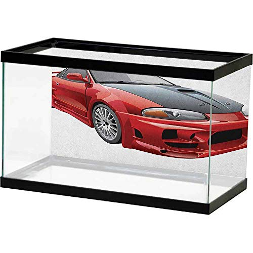 homecoco Fish Tank Wall Cars,Customized Red Dragster Automobile in Graphic Style Speed Fast Vehicle Powerful, Red Black White PVC Adhesive