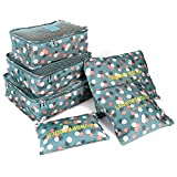 SAVFY 6pcs Packing Cubes Set Travel Luggage Organizer Storage Case for Clothes Bra Underwear Cosmetic - 3 Travel Cubes + 3 Pouches