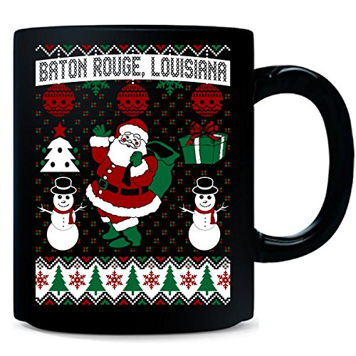(Christmas Ugly Sweater Baton Rouge Louisiana - Mug)