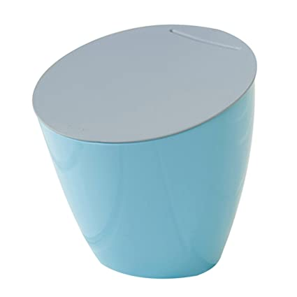 XSHION Dustbin With Lid, Trash Can Desk Office Waste Paper Basket Desktop  Organizer(Blue