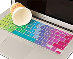 Mosiso Keyboard Cover for Macbook Pro 13 Inch, 15 Inch (with or without Retina Display, 2015 or Older Version) Macbook Air 13 Inch, Rainbow II