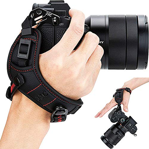 Mirrorless Camera Hand Strap Grip for Sony A6000 A6300 A6400 A6500 A5100 A5000 A7RIII A7III A7RII A7SII A7II A7R A7S A7 A9 RX1 RX1R RX1RII RX10 II III IV A99II A77II A99 A77 A68 HX350 HX400V H400 -Red from JJC